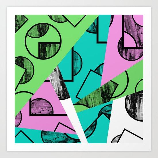Broken Pieces - Pastel coloured, geometric, textured abstract Art Print