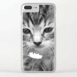 Cat Picture in Black and White Clear iPhone Case