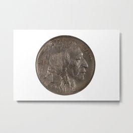 Pristine Indian Buffalo Nickel on white background Metal Print