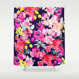 Summer Bright Antique Floral Print with Hot Pink, Yellow, and Navy V2 Shower Curtain