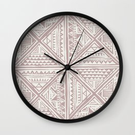 Simply Tribal Tile in Red Earth on Lunar Gray Wall Clock