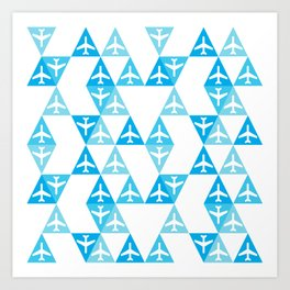 Geometric Planes Blue Art Print