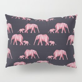 Navy blue and pink elephant Mother and baby Pillow Sham