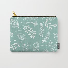 Mint floral Carry-All Pouch