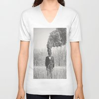 anxiety V-neck T-shirts featuring Anxiety by Alex Gregory Mears