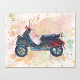 Vespa Piaggio in watercolor pencils Canvas Print