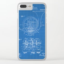 French Horn Patent - Horn Player Art - Blueprint Clear iPhone Case