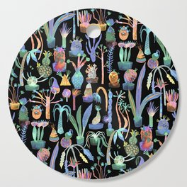 Nocturnal lush garden - Dreamy cacti and succulents plants Cutting Board
