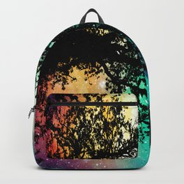 Black Trees Colorful Space Backpack