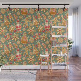 Gingerbread Christmas Pattern (Color) Wall Mural
