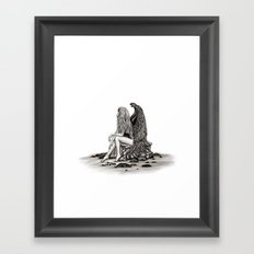 Angel , lost in thought Framed Art Print