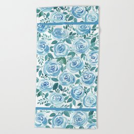 Pale blue roses . Watercolor . Beach Towel