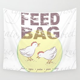 "FEED BAG ""Cluck Cluck"" Color Kitchen Print Wall Tapestry"