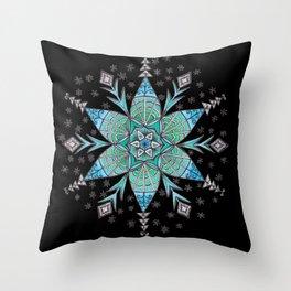 Snowflake Mandala (on black) Throw Pillow