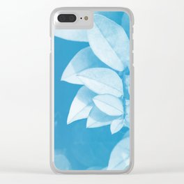 Leaves in Blue Clear iPhone Case