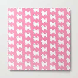 Westies Pink Pattern Metal Print