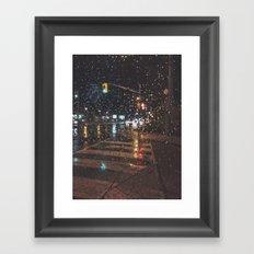 rainy bokeh Framed Art Print
