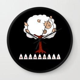 Wortspiel Baumwolle Schafe Schaf Wall Clock