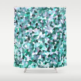 Turquoise Mosaic Pattern Shower Curtain