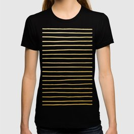 Gold Paris Stripe Pattern T-shirt