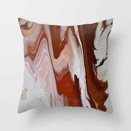 Red Burgundy Fluid Liquid Marble Flow Painting - Lava Flow II Throw Pillow