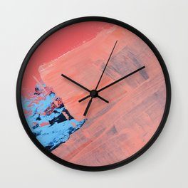 Reveal [4] a minimal abstract mixed-media piece in pinks and blue by Alyssa Hamilton Art Wall Clock
