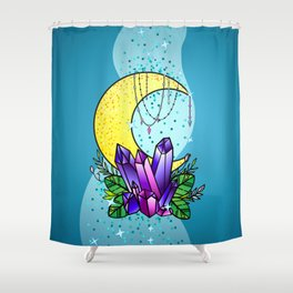 Mystical Crystals and Moon Shower Curtain