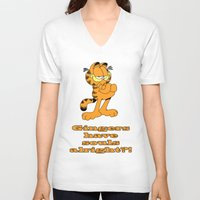 garfield V-neck T-shirts featuring Garfield gingers have souls by Création Numérique du Rocher
