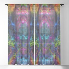 Thunder Exhalation (totem, visionary, psychedelic) Sheer Curtain