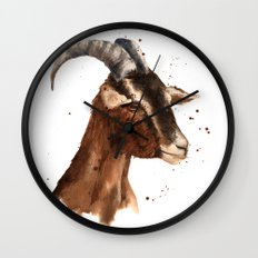 Goat, billy goat, goat painting, goat print, cute animal art, watercolor animals, animal paintings Wall Clock