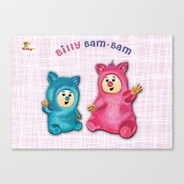 Billy Bam Bam with vintage pink background Baby TV Canvas Print