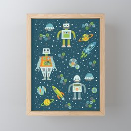Robots in Space - Blue + Green Framed Mini Art Print