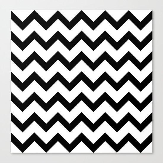 Simple Black and white Chevron pattern Canvas Print