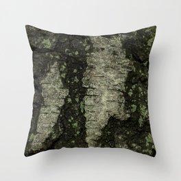 Birch Bark With Moss Throw Pillow
