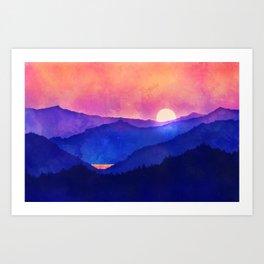 Cobalt Mountains Art Print