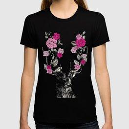 The Stag and Roses | Deer and Flowers | Pink | Vintage Stag | Vintage Deer | Antlers | Woodland | T-shirt