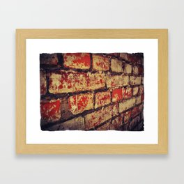 red and white, weathered, Brick Wall Framed Art Print