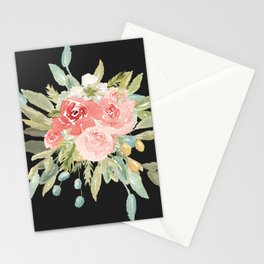 Loose Watercolor Rose Bouquet Dark Background Stationery Cards