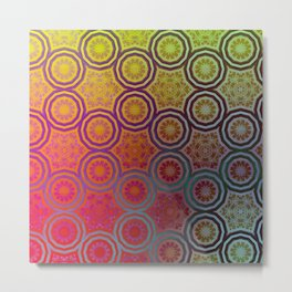 Pink, Purple, Yellow, and Orange Circles and Cogs Metal Print
