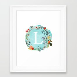 Personalized Monogram Initial Letter L Blue Watercolor Flower Wreath Artwork Framed Art Print
