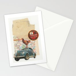 Rooster Road Trip - Vintage Collage Stationery Cards