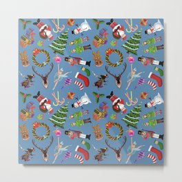 The Elements of Christmas (Pattern)(Blue) Metal Print