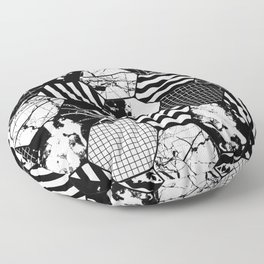 Hexual - Black and white, honeycomb, hexagon pattern, stripes, paint splats, grid and marble Floor Pillow