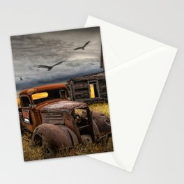 The Death of the Small American Farm with Abandoned Truck and Farm House Stationery Cards