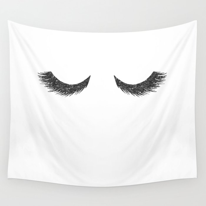 Lashes Black Glitter Mascara Wall Tapestry