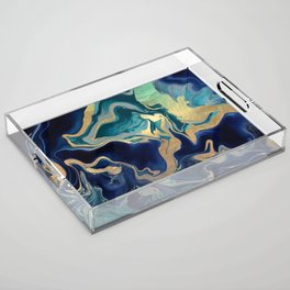 DRAMAQUEEN - GOLD INDIGO MARBLE Acrylic Tray