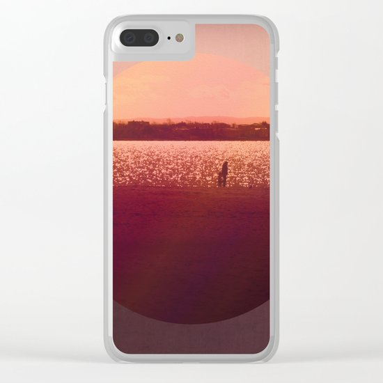 Vintage Coral Sunset, Winter Beach Clear iPhone Case