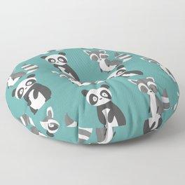 panda and raccoon Floor Pillow