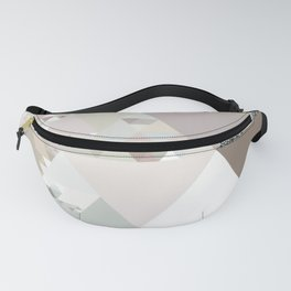 Triangles in glittering graphite quartz - Gray glitter triangle pattern Fanny Pack
