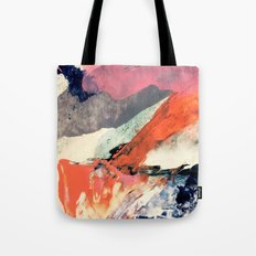 Fire and Ice - an abstract mixed media piece in pink, red, gray, blue, and white Tote Bag